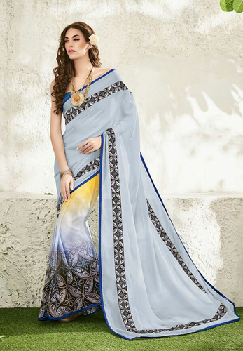 Wonderful Blue Georgette Printed Saree