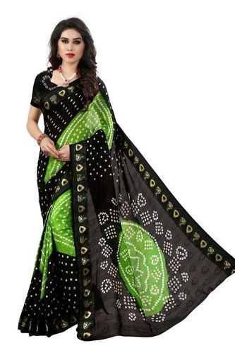 Green & Black bandhej Printed Festival Wear saree