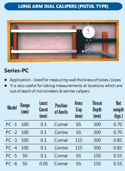 External Pistol Caliper / Long Arm Dial Calipers / Pistol Ty