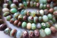 Natural chrysoprase faceted rondelle 7 inch 9mm-10mm beads single strand