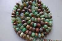 Natural chrysoprase faceted rondelle 7 inch 9mm-8mm beads single strand