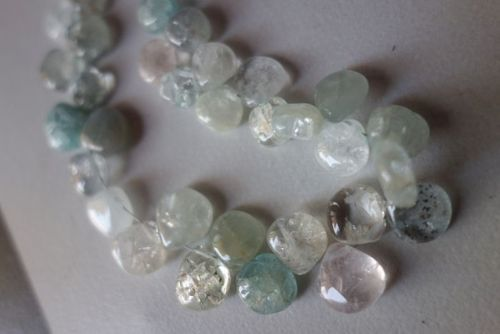 natural multi aquamarine plain briolettes beads single stand 7inch 8mm-9mm