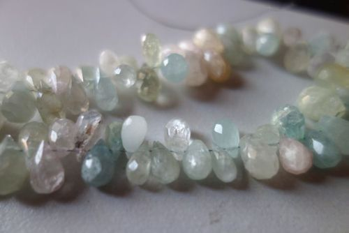 natural multi aquamarine faceted drops beads single stand 7inch 6x10mm to 7x10mm