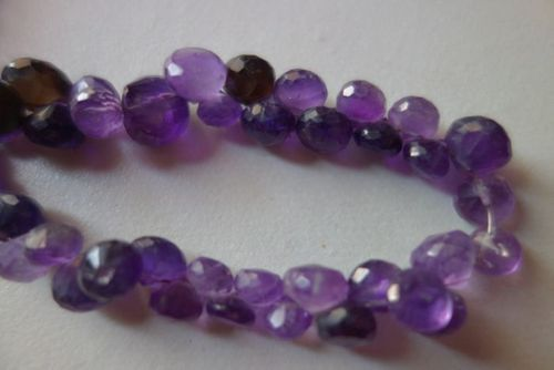 Natural amethsy faceted onion beads 7inch single strand 8mm-10mm
