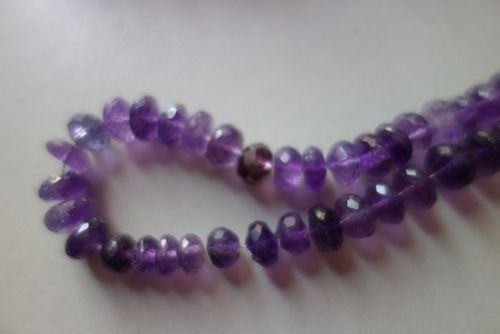 Natural amethsy faceted rondelle beads 7inch single strand 7mm-8mm