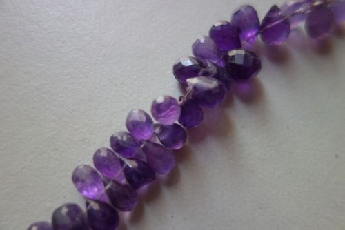 Natural amethsy faceted drops beads 7inch single strand 6x10mm to 7x10mm