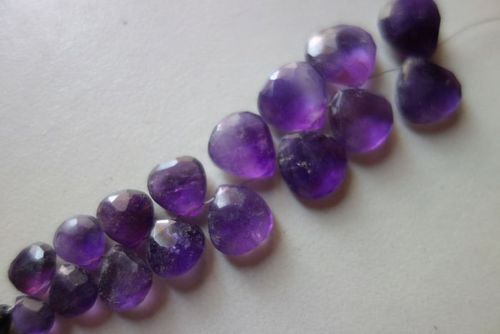 Natural amethsy faceted briolettes beads 11 pcs 10mm-12mm in a bag