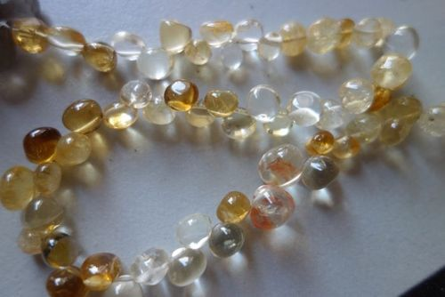 Natural citrine  plain onion beads 7inch single strand 7mm