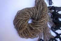 13 inch  brown crystal coated Faceted rondell beads single strand 4mm-3mm