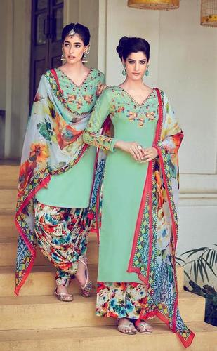 Cotton and  Chiffon Semi Stitched Casual Patiyala