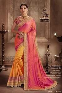 Yellow Stylish Georgette Wedding Wear Saree