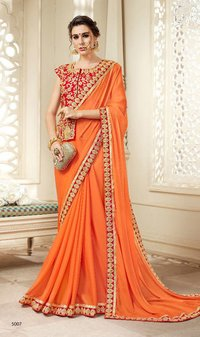 Sethnic orange 5007 heavy silk border saree full embroidered long jacket blouse