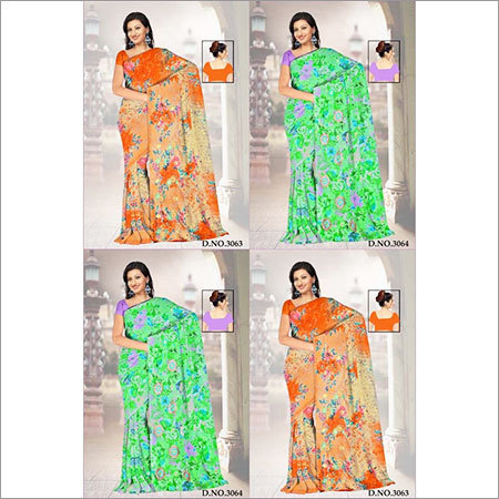 Printed Embroidery Saree