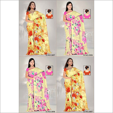 Embroidery saree printed