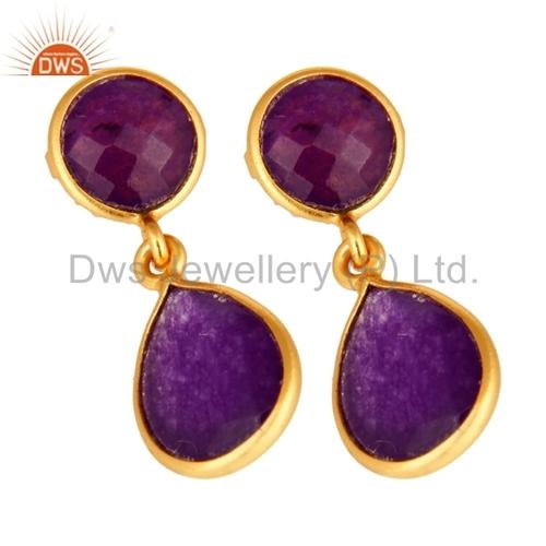 Purple Chalcedony Gemstone Silver Earrings