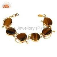 Tiger Eye Brass Fashion Bracelet Jewelry