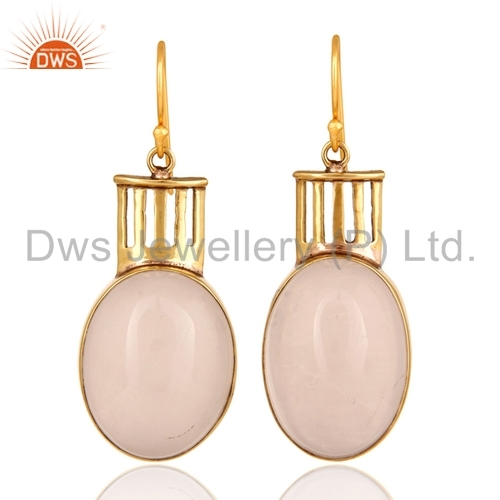 Rose Quartz Gemstone Brass Earrings