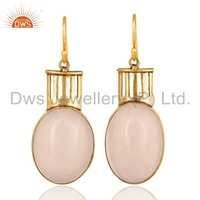 Rose Quartz Gemstone Brass Earrings
