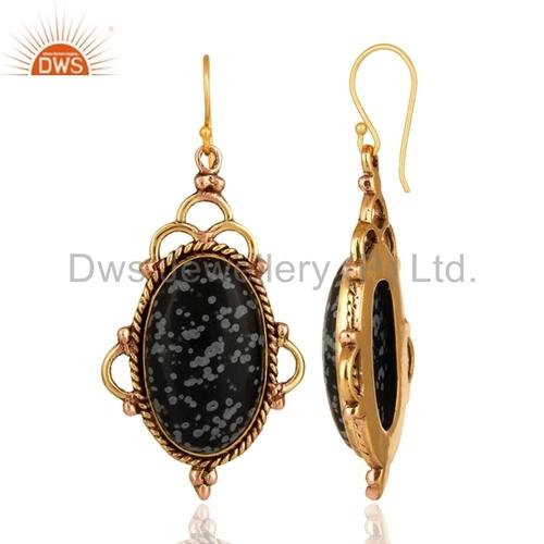 Snowflake Obsidian Gemstone Brass Earrings
