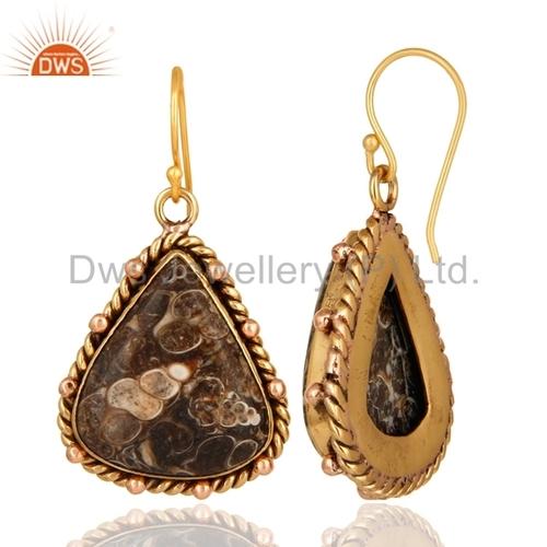 Turritella Agate Gemstone Brass Earrings