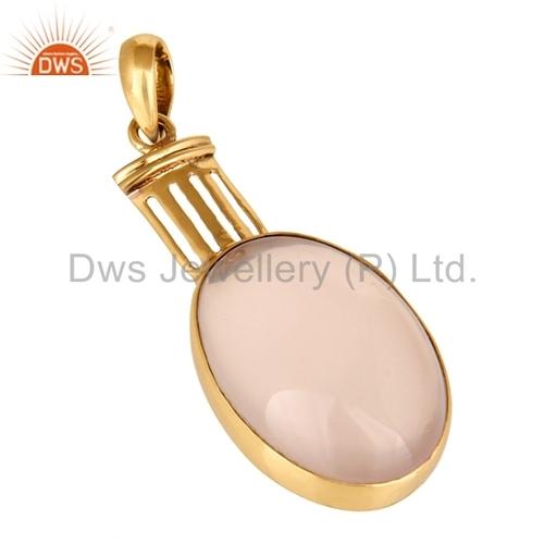 Rose Quartz Gemstone Brass Pendant
