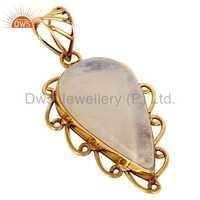 Rainbow Moonstone Brass Pendant
