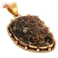Gold Plated Brass Turritella Agate Gemstone Pendant