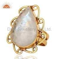 Natural Rainbow Moonstone Gemstone Ring