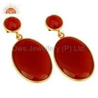 925 Silver Gold Plated Red Onyx Gemstone Earrings