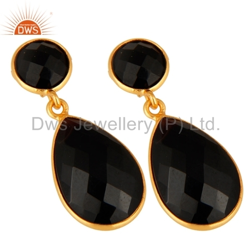 Sterling Silver Gold Plated Black Onyx Gemstone Earrings