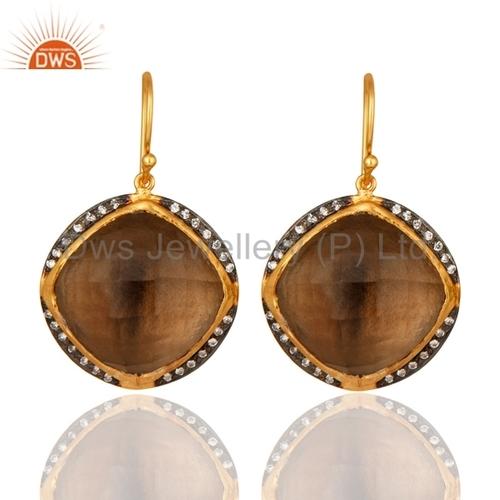 925 Silver Smoky Quartz Gemstone Earrings