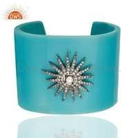 Cz & Pearl Bakelite Cuff Bracelet Bangle