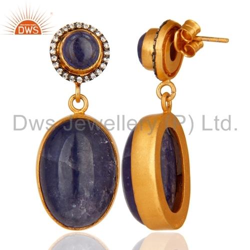 Tanzanite Stone Sterling Silver Earrings