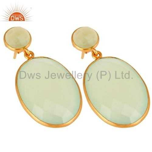 Prehnite Chalcedony Gemstone Earrings