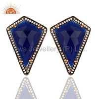 CZ Blue Aventurine Gemstone Earrings