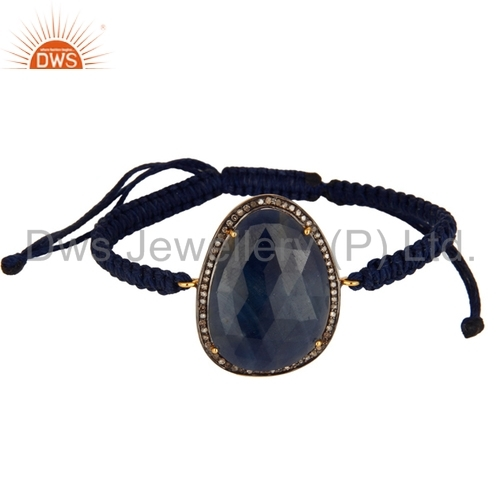 Blue Sapphire Gemstone and Pave Diamond Bracelets