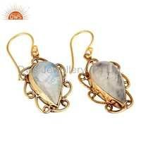 Rainbow Moonstone Brass Earrings Jewelry