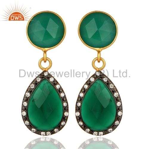 925 Silver Green Onyx Gemstone Earrings