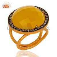 Moonstone Yellow 925 Silver Ring