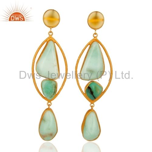 Chrysoprase Gemstone Silver Earrings Jewelry