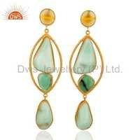 Chrysoprase Gemstone Silver Earrings Jewelry