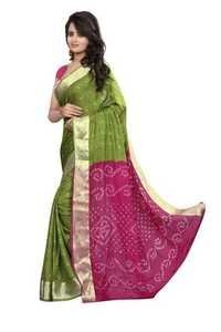 Green Cotton Lovely Bandhani Saree