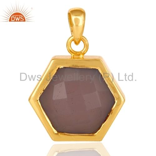 Gold Plated Silver Rose Quartz Pendant