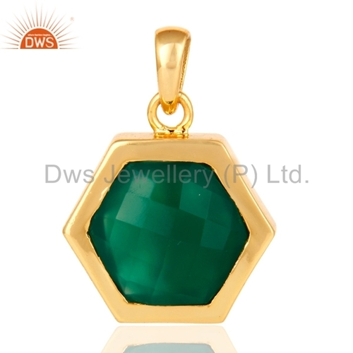 925 Silver Gold Plated Green Onyx Pendant