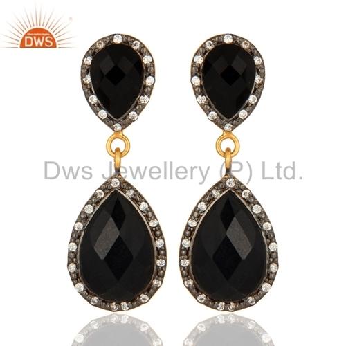 Black Onyx Gemstone 925 Silver Earrings Jewelry