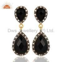 CZ Natural Black Onyx Gemstone Dangle Earrings Jewelry