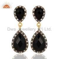 CZ Natural Black Onyx Gemstone Dangle Earrings Jewelry