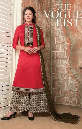 Red Stylish Plazoo Style Suit