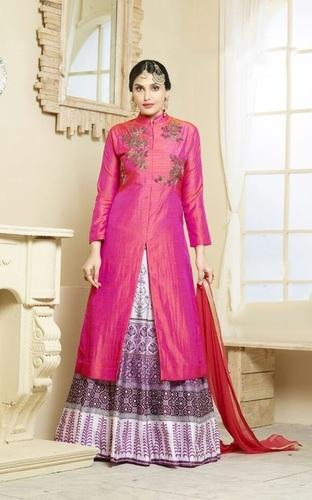 Pink Stylish Lehenga Style Suit