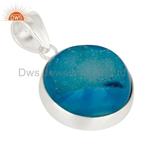 Blue Titanium Druzy 925 Silver Pendant